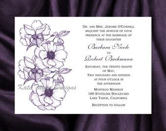 Apple Blossom Flower Wedding Invitation & RSVP  - Floral Wedding Invitation and RSVP - Design 2