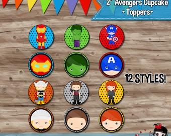Avengers Cupcake Toppers, Superhero Birthday Party Supplies, Avengers Cupcake, Toppers, Superhero Party - JPG Digital File, INSTANT DOWNLOAD