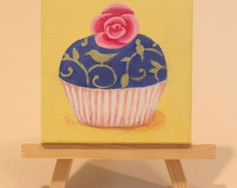 Original Bird and Vine Cupcake With Rose on Top