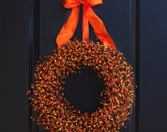 Orange and Yellow Berry Wreath - Fall Wreath - Fall Berry Wreath - Autumn Wreath - Thanksgiving Wreath - Halloween Wreath - Fall Door Decor