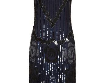 Audrey Black Navy Blue Vintage 20s inspired Uk6 Us2 Aus6 to Uk30 Us26 Aus30 Flapper Great Gatsby Charleston Wedding Bridesmaid Dress New
