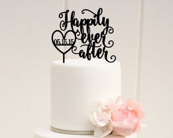 Happily Ever After Wedding Cake Topper with Your Wedding Date