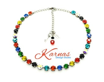 UTOPIA 8mm Crystal Chaton Necklace Made With Swarovski Elements *Pick Your Finish *Karnas Design Studio *Free Shipping*