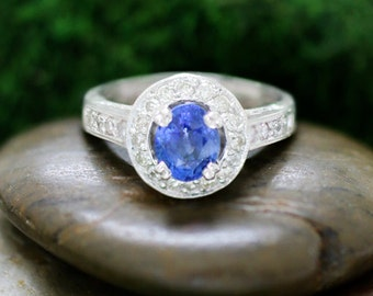 Ceylon Blue Sapphire and Diamond Engagement <Prong/Pave> Solid 14K White Gold (14KW) Wedding Ring *Fine Jewelry* (Free Shipping)