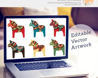 Vector Dala Horse Clipart. Editable Dalecarlian Horse Clip Art Illustrations. Traditional Red, Blue, Green. Illustrator, EPS + PDF file.