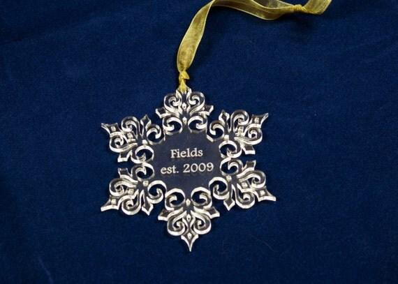 Personalized Christmas Ornament Acrylic Glass Snowflake