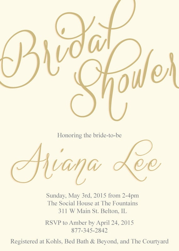 Bridal shower custom made to order invitations 5x7""