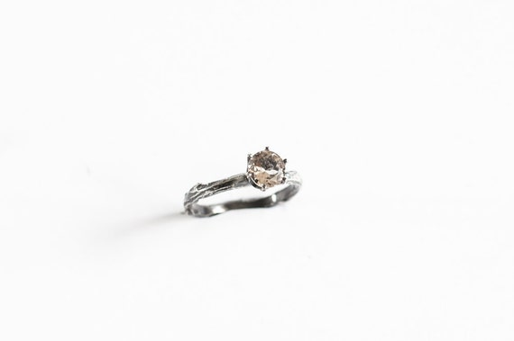 Morganite sterling silver twig ring, branch engagement ring, alternative engagement ring, gemstone twig ring