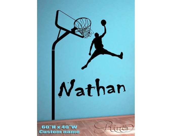 Basketball Player Wall art Custom Large choose ANY NAME Vinyl wall Decal sticker decor kids bedroom