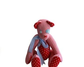 Red & White Pepita And Polka Dots Teddy Bear / Vintage Style Handmade Teddy Bear / Shabby Chic Teddy Bear / Nostalgic Bear / Stuffed Toy