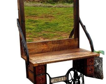Reclaimed Barnwood Vintage Singer Sewing Machine Entryway Furniture, Free  Delivery 28734 U0026 Surrounding Areas