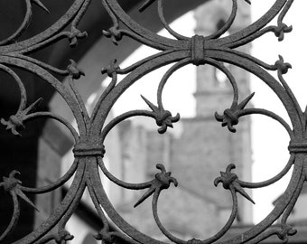 Fine Art Photography, Black and White Photography, Florence Italy, Architecture Art, Tuscany, Wall Art, 8 x 10, Rusty Metal, Santa Croce