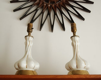 Antique gold striped on white swirl glass Lamps  *working