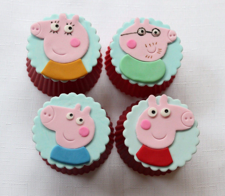 12 peppa pig cupcake toppers edible fondant birthday topper