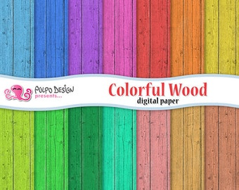 Colorful wood digital papers. Commercial & personal use. Instant download. Paper scrapbook bright blue pink red colored coral brown rainbow.