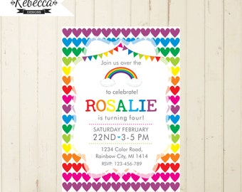 rainbow invitation rainbow party invitation heart invitation girl birthday invitation 1st birthday girl 4th 5th 3rd 2nd birthday invite 270
