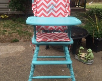 High Chair Cover. High chair pad.high chair cushion. highchair cover. wooden high chair pad.highchair cushion.highchair pad.vintage
