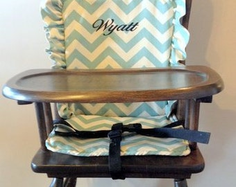 Wooden Highchair Cover/Cushion/pad:  Turquoise Chevron cushion for wooden/vintage highchairs.  Removable foam.  Optional monogramming.