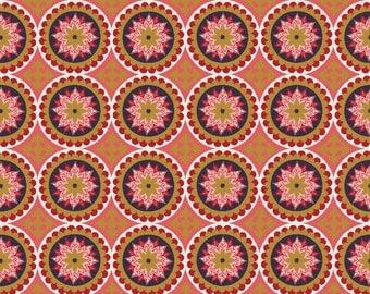 La Vie Boheme Riley Blake Fabric SC4742 Red Medallion Fabric, Gypsy Fabric, Bohemian Fabric, Metallic Gold, Boho Cotton Fabric Yardage
