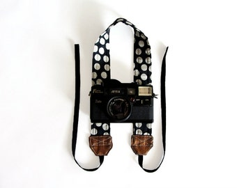 Polka dot camera strap, camera neck strap, cotton linen and gold SLR DSLR camera strap,australia