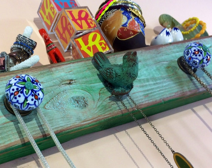 Made to order- recycled wood necklace holder/ jewelry hanger/ hanging jewellry wall storage organizer /reclaimed wood wall rack bird 5 knobs
