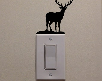 """Deer/Buck Walking In Forest On Light Switch (3.8""""x3.6"""") - Bedroom/Home Decor/Cabin/Mancave/Hunting Club Wall Decal"""