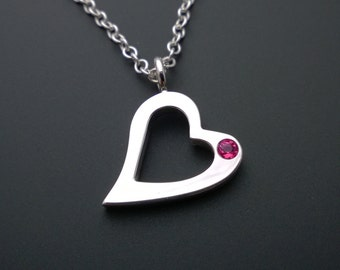 Ruby Open Heart Necklace Pendant In Sterling Silver - Sterling Silver Heart Necklace, Ruby Heart Necklace, Sterling Heart Necklace Pendant
