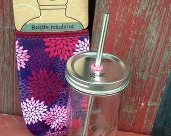 Mason Jar Tumbler with Cozy | 24 oz Mason Drinking Jars, Stainless Steel Straw & Cozie | To Go 24 oz Wide Mouth | Ball Jar | ECO Glass Jar