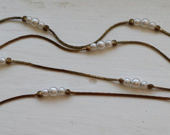 Vintage seed pearl gold necklace