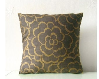 Brown & Gold Floral Abstract Print Cushion Pillow Throw Cover 16x16 or 18x18 inches
