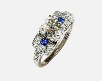 Stunning Art Deco Platinum and 1.82 ct. TW diamond ring