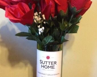 Cut Wine Bottle Vase, Sutter Home Cabernet Sauvignon, Flower Vase, Hand Cut Glass
