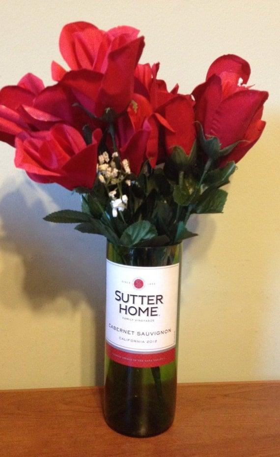 Cut wine bottle vase sutter home cabernet sauvignon flower for Wine bottle flower vase