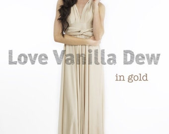 Bridesmaid Dress Infinity Dress Gold Floor Length Maxi Wrap Convertible Dress Wedding Dress