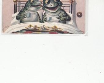 Raphael Tuck's Ellam Series Happy Frogs Enjoy Breakfast In Bed 1907 Antique Postcard