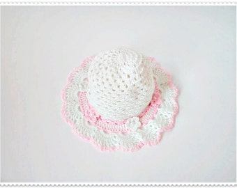Crochet baby hat, Pink baby hat, Baby summer hat, Baby girl hat, Knitted baby hat, Girl's hat, Summer baby hat