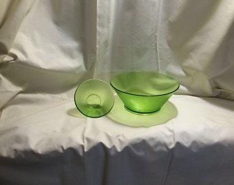 Vintage Emerald Green Micro-Ribbed Chip and Dip Bowl Set (2 Bowls)