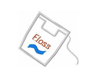 ONE Dental FLOSS Machine Embroidery Appliqué Design - 4x4 Hoop