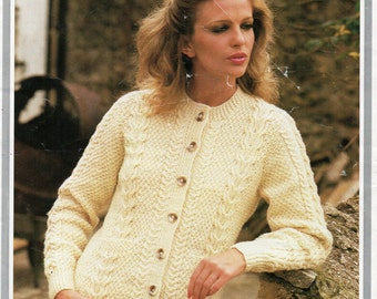 5383d86cfaae2f Vintage womens aran cardigan knitting pattern PDF ladies cable jacket round  neck 32-42