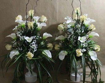 1 Pc, Altar, arrangement/centerpiece, ivory, white, Real Touch flowers, silk, wedding, rose/roses, calla lily/lilies, baby's breath, grass