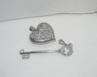 Vintage Heart and Key Charm Necklace Charm