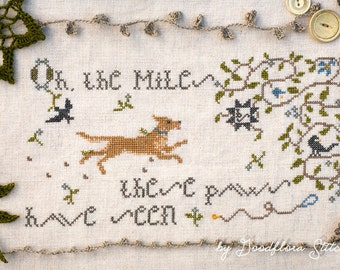 Cross Stitch Pattern ~ Oh, the Miles! ~ Instant PDF Download