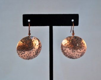 Large disc hammered,  oxidized copper earrings