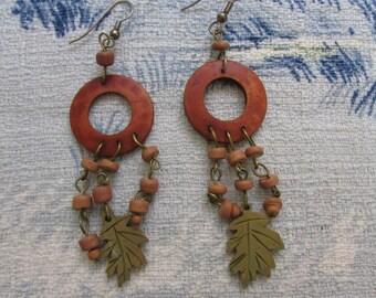 Early 1990s autumnal wooden drop earrings with oak leaf detail