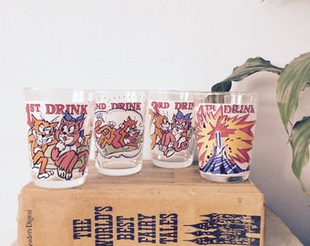 Novelty Cheeky BRIGHT Drinking Whiskey / Vodka GLASSES - Vintage / Dirty Cat KITSCH Retro Fun Drinking Game - Quirky!