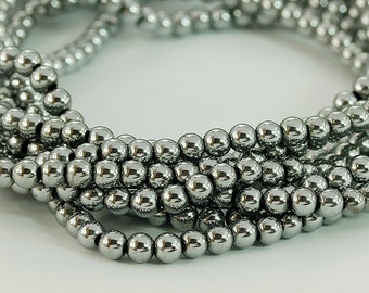 3 mm. Hematite Round Beads, Wholesale Natural Hematite Stone.