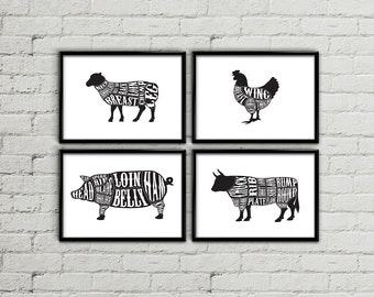 Butcher diagram, Butcher chart, Butcher print, Meat cuts print, Meat cuts poster, Rustic kitchen decor, kitchen wall art, kitchen decor