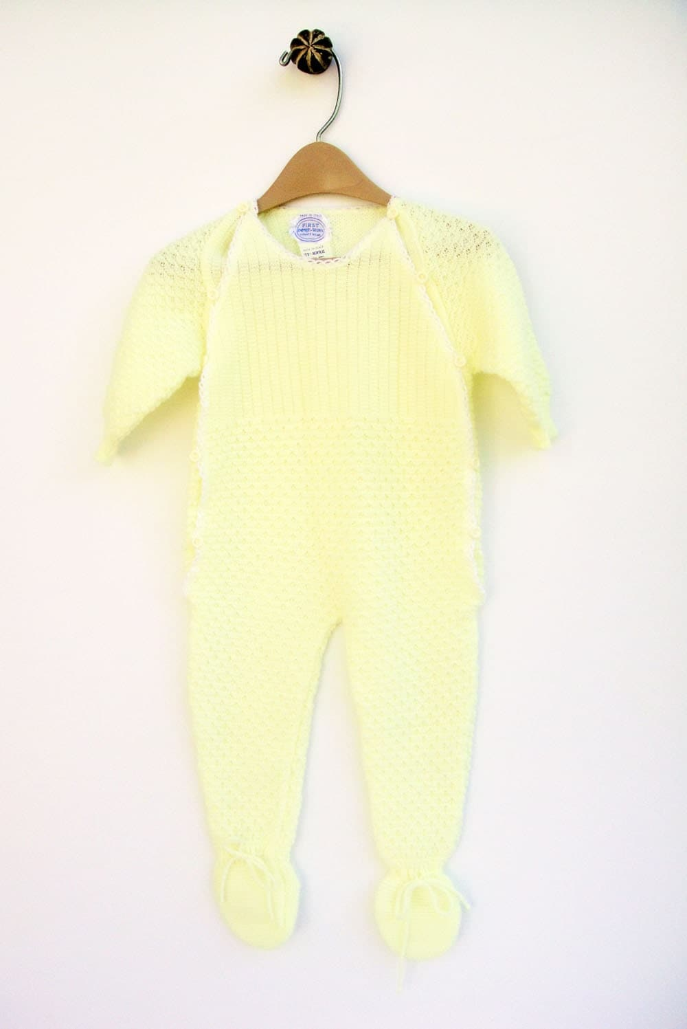 Sweater Onesie Yellow Baby Clothes 3 Months 1950's