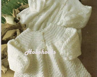 2 Ply Baby Knitting Patterns : vintage knitting pattern for baby dress and matinee coat 4 ply