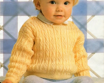 825a10972 Baby Knitting Pattern K3193 Babies Long Sleeve V-neck Jumper ...